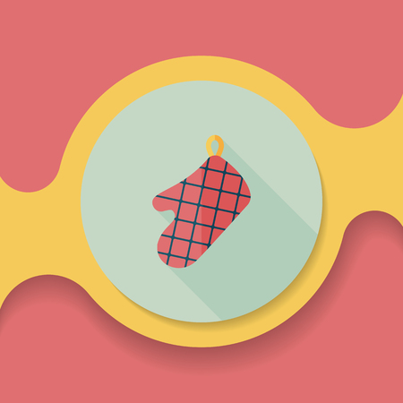 mitts: kitchenware oven mitts flat icon with long shadow,