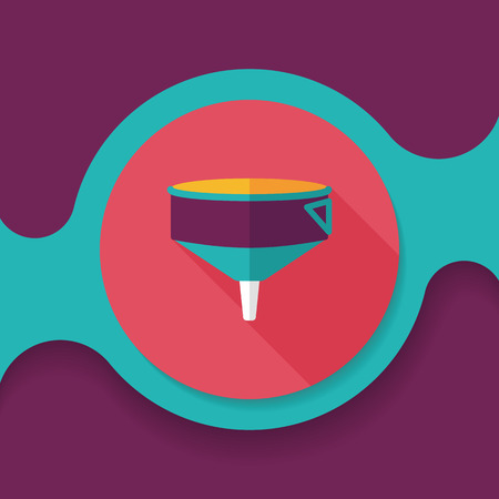funnel: kitchenware funnel flat icon with long shadow, Illustration