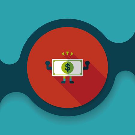 hundred dollar bill: shopping money cash flat icon with long shadow, Illustration