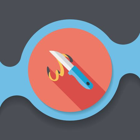 cut out device: kitchenware fruit knife flat icon with long shadow,