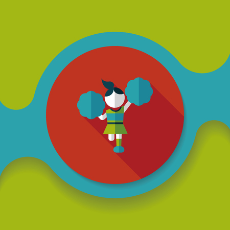 arms outstretched: cheerleader flat icon with long shadow,