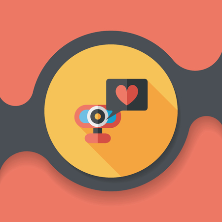 making face: Valentines Day webcame love message flat icon with long shadow, Illustration