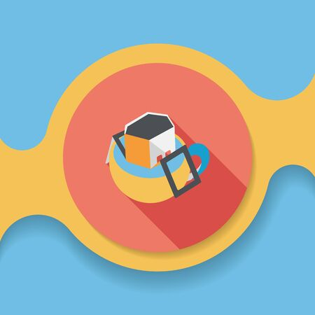 bagged: coffee bag flat icon with long shadow, Illustration