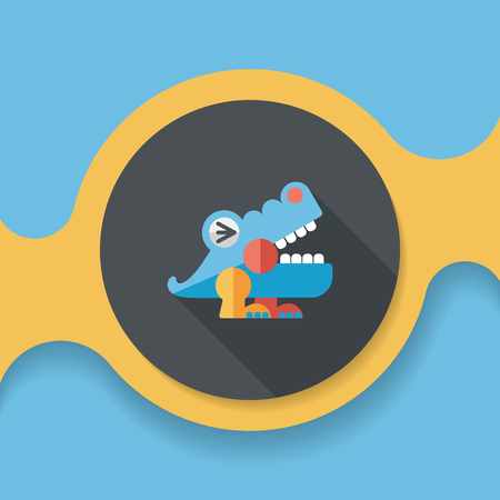 irate: crocodile toy flat icon with long shadow, Illustration