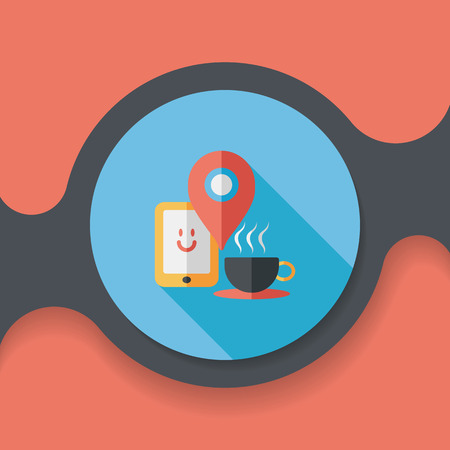 coffee flat icon with long shadow Illustration