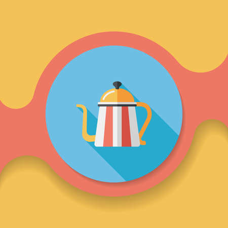 coffeepot: coffee kettle flat icon with long shadow, Illustration