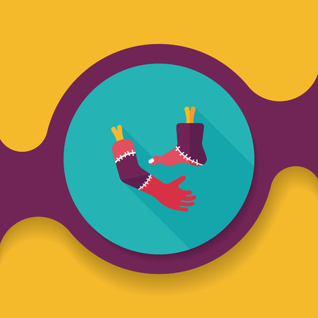severed: Halloween hand and leg flat icon with long shadow, Illustration