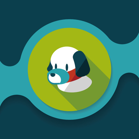 mouth close up: Pet dog mouth cover flat icon with long shadow,