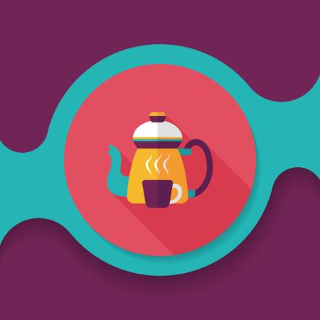 커피 주전자 및 컵 긴 그림자,