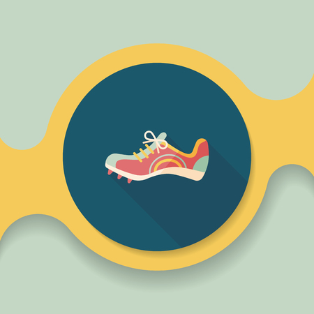 shoelace: sneaker flat icon with long shadow, Illustration