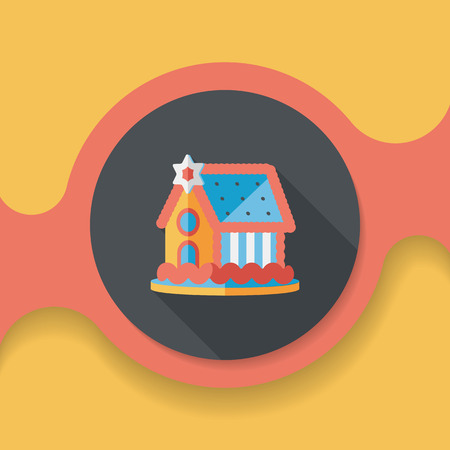 gingerbread cake: Gingerbread house flat icon with long shadow, Illustration