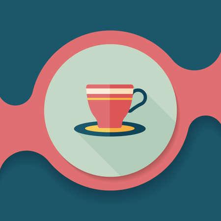lliquid: coffee cup flat icon with long shadow,