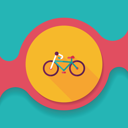 black people: Transportation bicycle flat icon with long shadow,