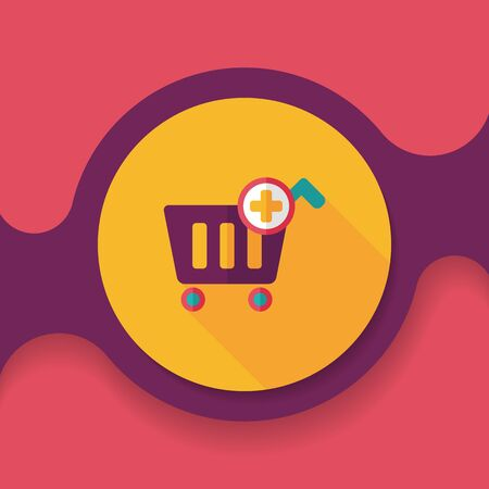 shopping cart icon: shopping cart flat icon with long shadow, Illustration