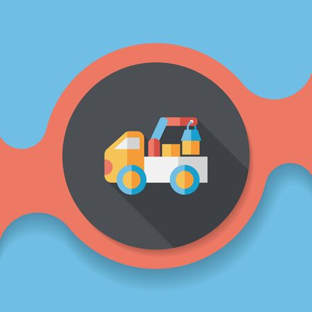 over sized: truck flat icon with long shadow,