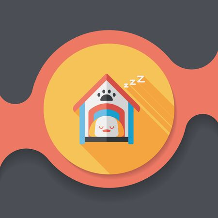 dog house: Pet dog house flat icon with long shadow,