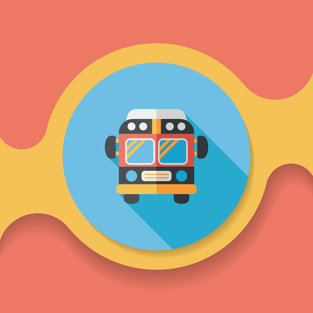 school icon: Transportation bus flat icon with long shadow, Illustration