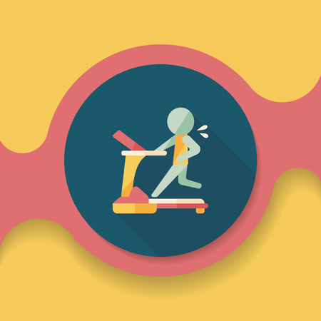gym room: treadmill flat icon with long shadow, Illustration