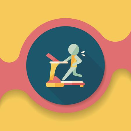 gymnasium: treadmill flat icon with long shadow, Illustration