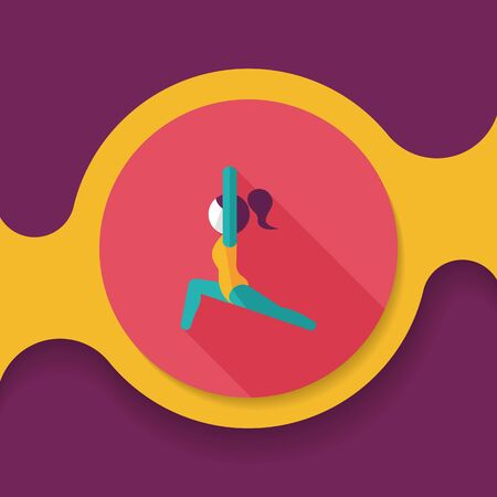 sporty girl flat icon with long shadow, 向量圖像