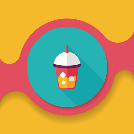 iced: iced drink flat icon with long shadow,