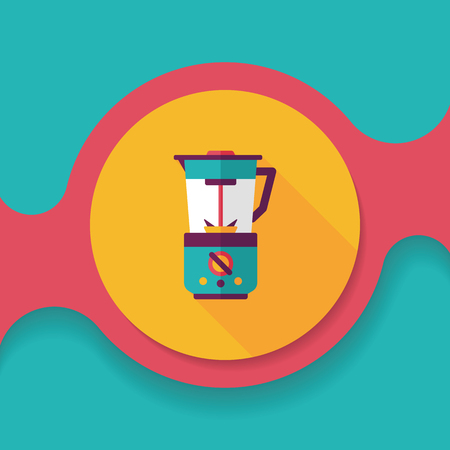 liquidizer: kitchenware electric juicer flat icon with long shadow,