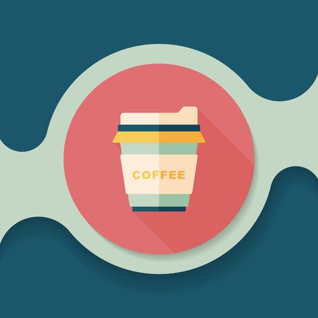takeaway: takeaway coffee flat icon with long shadow, Illustration
