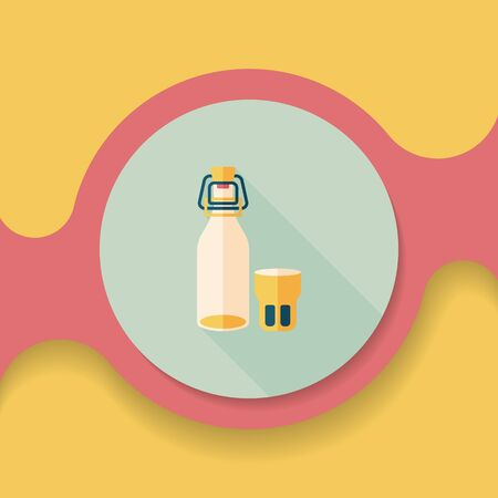 canned drink: kitchenware preserving drink flat icon with long shadow,