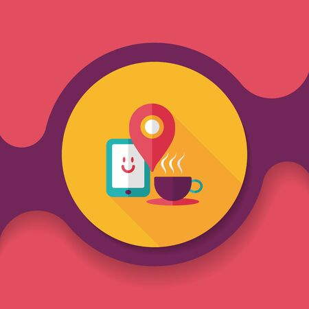 lliquid: coffee flat icon with long shadow Illustration