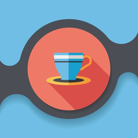 coffee cup flat icon with long shadow,
