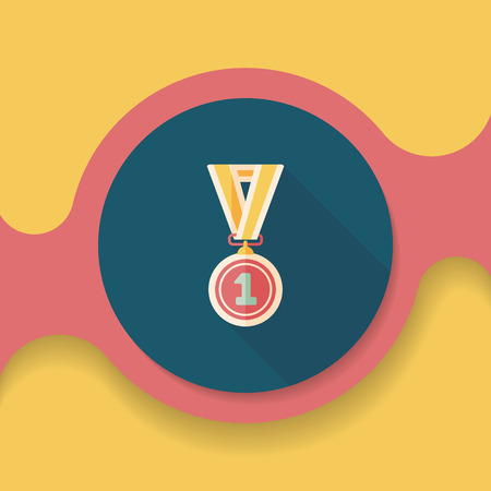 conquering: medal flat icon with long shadow, Illustration