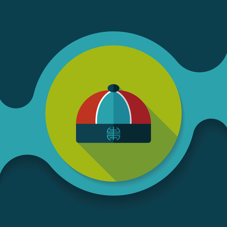 chinese hat: Chinese hat flat icon with long shadow, Illustration