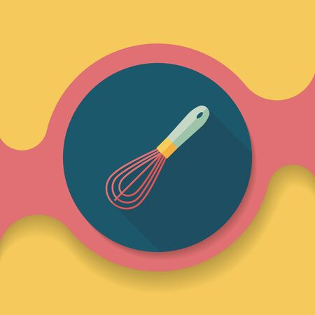 eggbeater: kitchenware beater flat icon with long shadow,