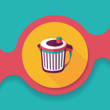 wastepaper basket: kitchenware garbage can flat icon with long shadow, Illustration