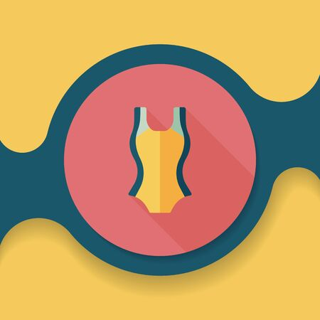 to sunbathe: swimming suit flat icon with long shadow,