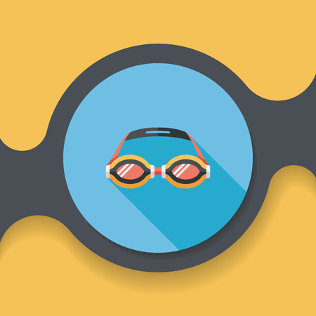 unoccupied: swimming goggles flat icon with long shadow,