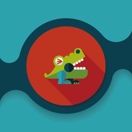 wrath: crocodile toy flat icon with long shadow, Illustration