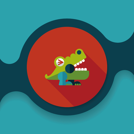 crocodile toy flat icon with long shadow, Illustration