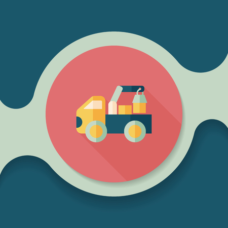 heavy load: truck flat icon with long shadow,
