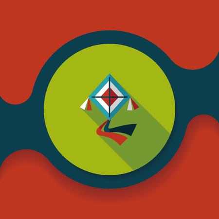 kite flat icon with long shadow, Çizim