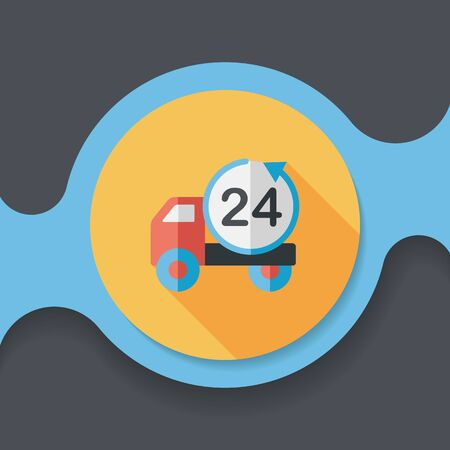 24 hours: 24 hours shopping freight transport flat icon with long shadow,