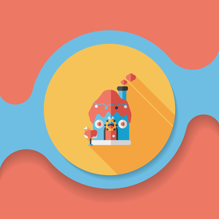 holiday villa: Gingerbread house flat icon with long shadow, Illustration