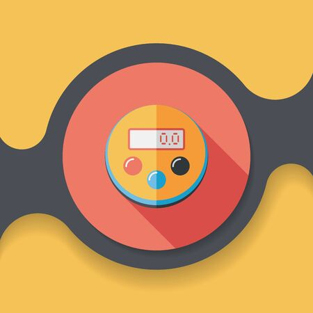 estimation: kitchenware timer flat icon with long shadow,