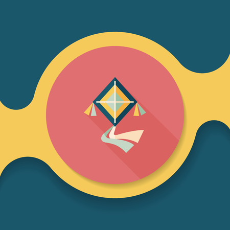fluctuation: kite flat icon with long shadow, Illustration