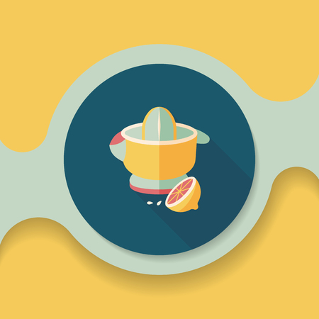 juicer: kitchenware juicer flat icon with long shadow,