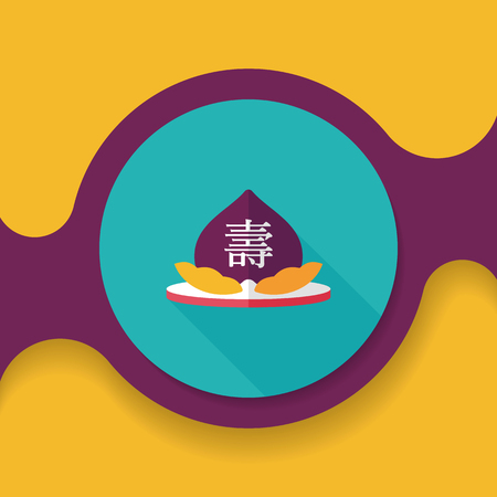 Chinese New Year peaches of immortality flat icon with long shadow Illustration