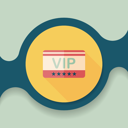 celebrities: shopping vip card flat icon with long shadow,