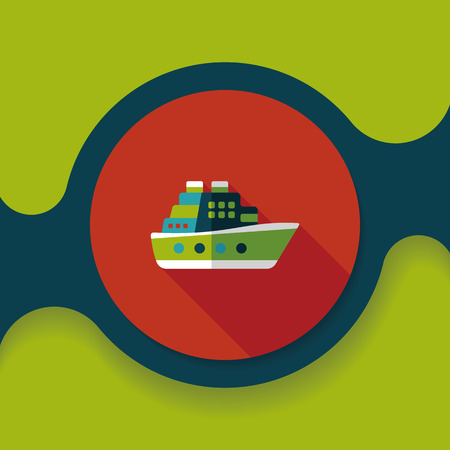 ferry: Transportation ferry flat icon with long shadow, Illustration
