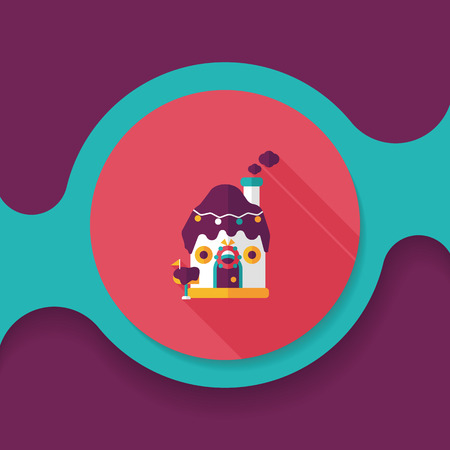 extravagant: Gingerbread house flat icon with long shadow, Illustration