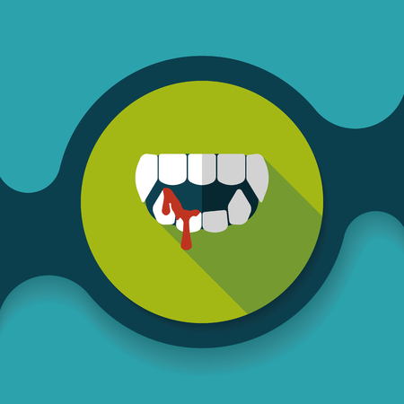 fangs: Halloween fangs flat icon with long shadow, Illustration